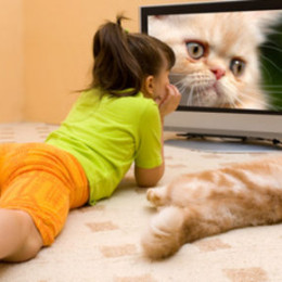 The girl and cat lays in front of the screen of the TV